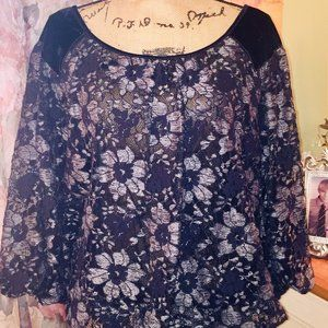 Lace and Velvet Top